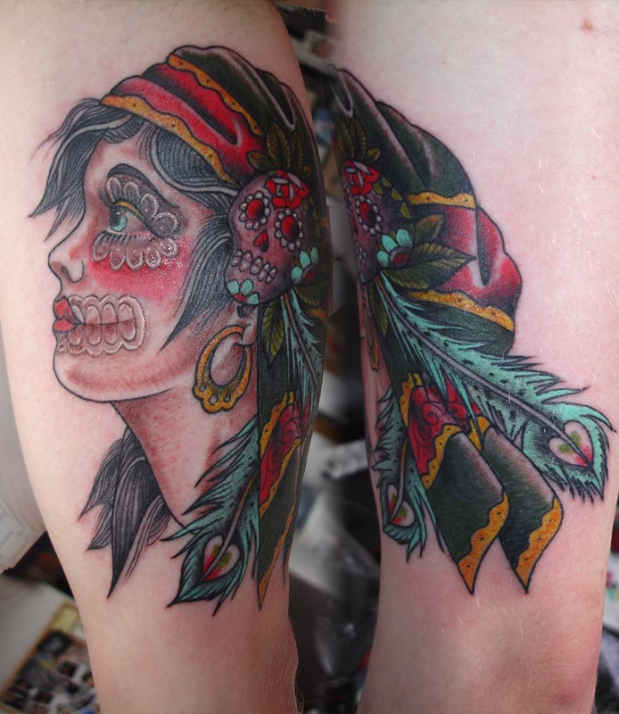 """(Actual search result girl sugar skull to """"""""). gypsy skull tattoo meaning"""
